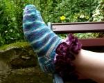 Opus 600 socks in Wharfedale woolworks merino bamboo and Sirdar Salsa!