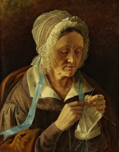 Old Woman Knitting (Russian, 1838)